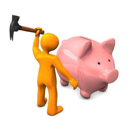 accountig: Orange cartoon character robs the piggy bank. White background. Stock Photo