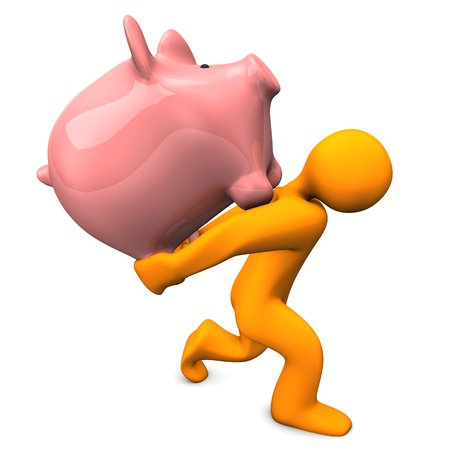 accountig: Orange cartoon character carries pink piggy bank. White background.
