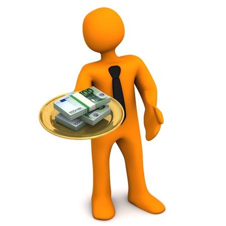corrupcion: Personaje de dibujos animados de naranja con lámina de oro y billetes de euro.