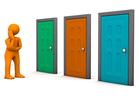 front gate: Orange cartoon character with three colorful doors. White background.