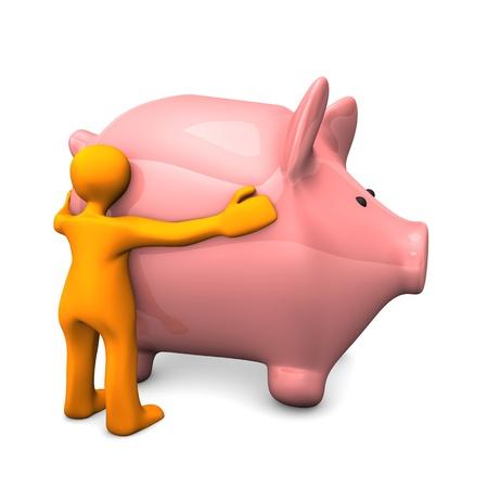 likes: Orange cartoon character likes pink piggy bank. Stock Photo