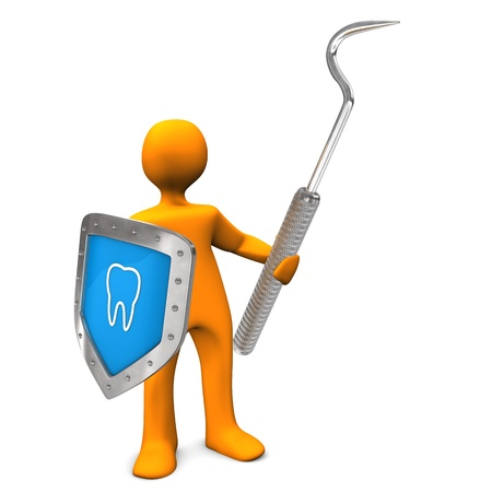 Orange cartoon character with shield and scaler. Stock Photo - 18842881