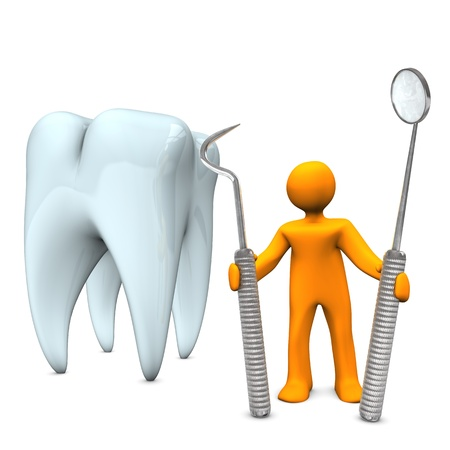 dental mirror: Orange cartoon character as dentist with tooth and tools