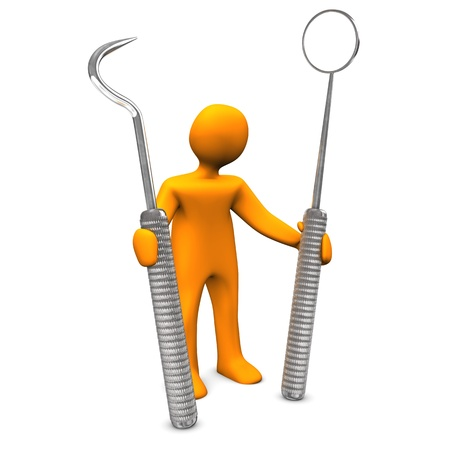 Orange cartoon character with dental tools. White background. Stock Photo