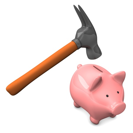 Hammer with pink piggy bank on the white background.