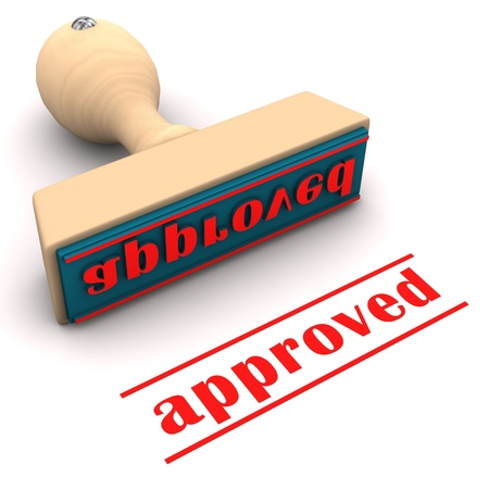 proved: Stamp with text approved on the white background. Stock Photo