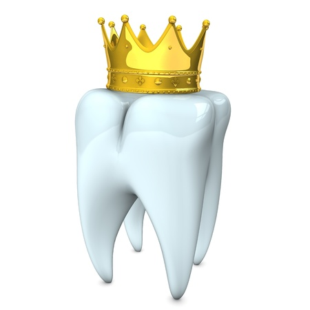 corona: White tooth with golden crown on the white background.