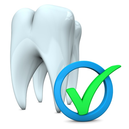 White tooth with green tick on the white background. Stock Photo - 18842875