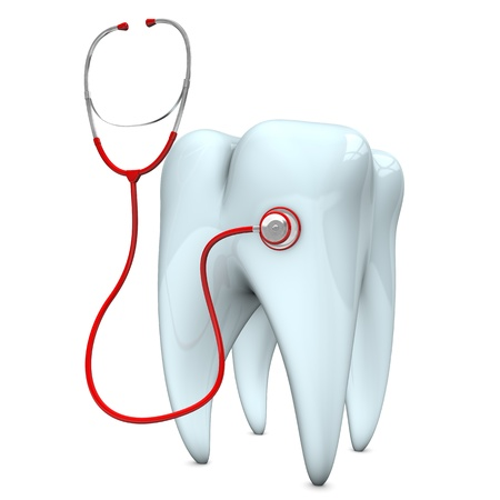sound bite: Red stethoscope with white tooth on the white background. Stock Photo