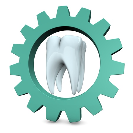 White tooth with green gear on the white background. photo