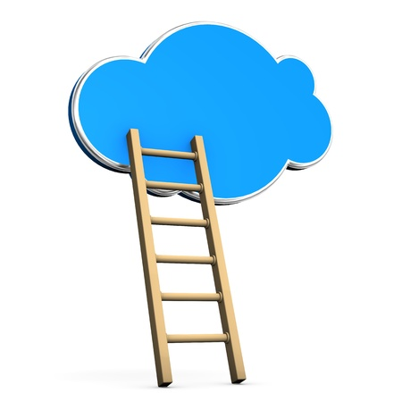 Ladder with blue cloud on the white background. Stock Photo - 18842618
