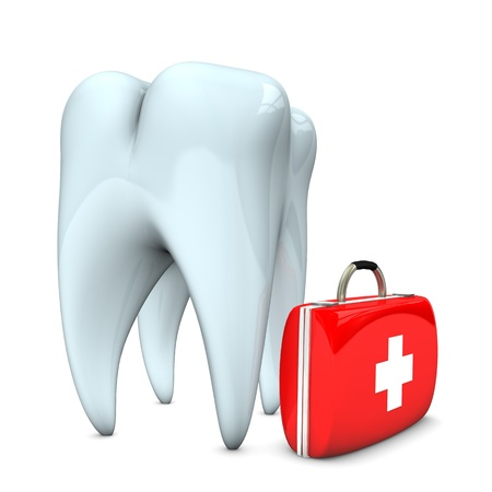 med: White tooth with emergency case. White background. Stock Photo