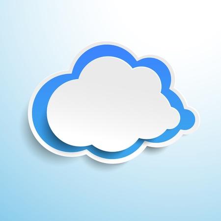 Blue cloud label design on cyan background.  photo