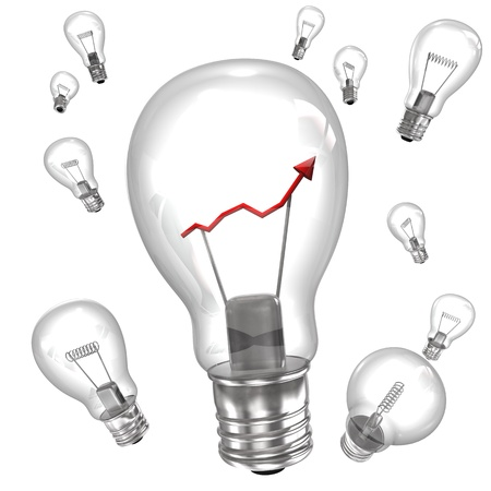 altogether: Big bulb with red chart and small bulbs on the white background.