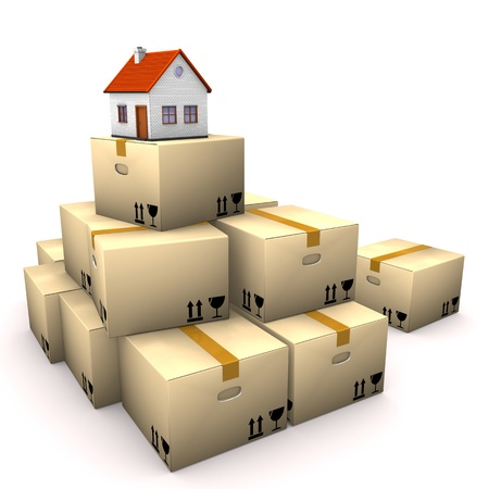 forwarder: Moving boxes with small house on the white background. Stock Photo