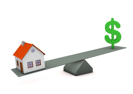equipoise: House with green symbol of dollar. White background.