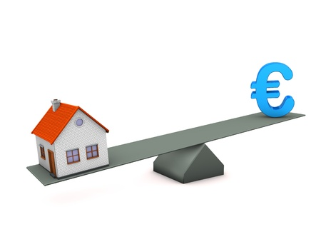 equipoise: House with blue symbol of euro. White background.