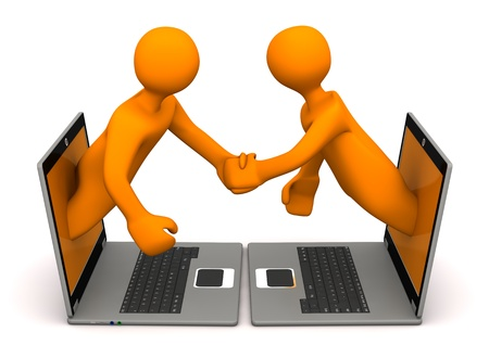 Orange cartoon characters with laptops makes handshake. photo
