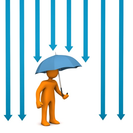 Orange cartoon character with umbrella and blue arrows. Stock Photo - 18987349