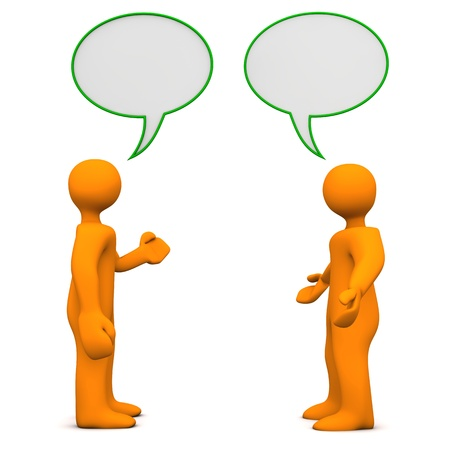 debate: Two orange cartoon characters with speech bubbles. White background. Stock Photo