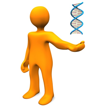 Orange cartoon character with DNA on the white background. photo