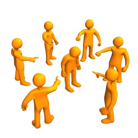 Orange Cartoon-Figuren Verleumdungen. 3D-Darstellung mit weißem Hintergrund.