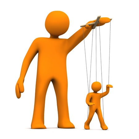 leverage: Puppet artist with orange marionette on the white background.