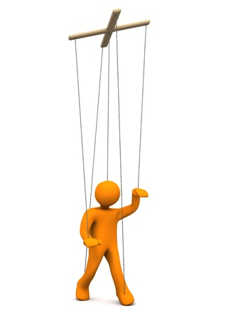manipulated: Orange marionette on the white background. 3d illustration.