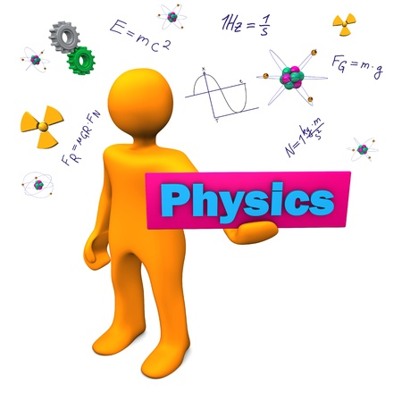 scientist woman: Orange cartoon character with text Physics. Stock Photo