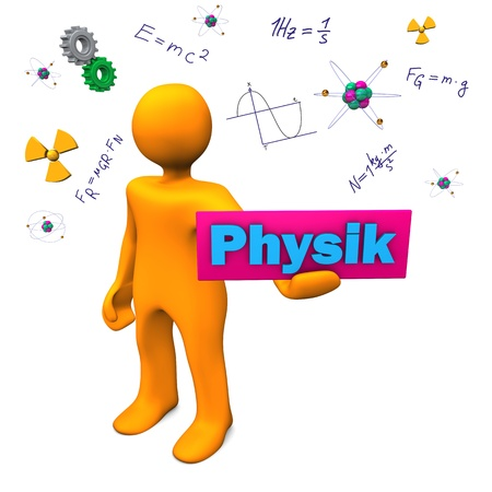 Orange cartoon character with german text Physik, translate Physics. Stock Photo - 18987439