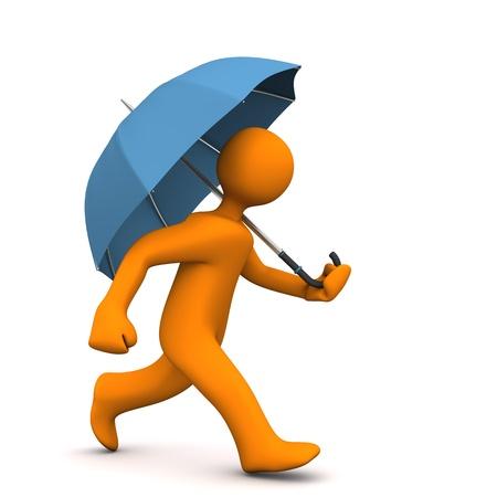 runs: Orange cartoon character runs with blue umbrella.