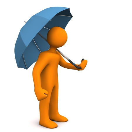 Orange cartoon characer with umbrella on the white background. Stock Photo - 18987351