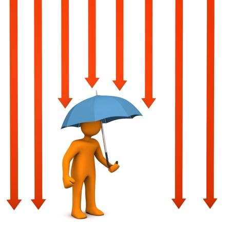 Orange cartoon characer with umbrella and sun light arrows. Stock Photo - 18987350