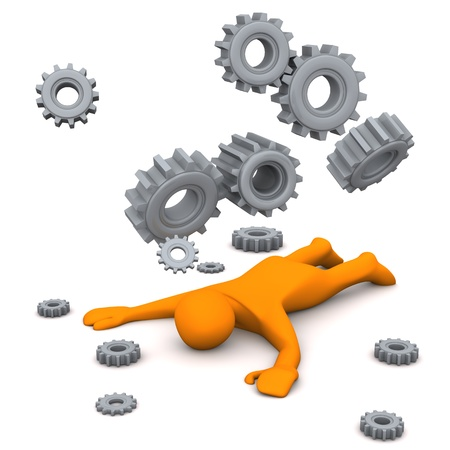 slain: Orange cartoon character is exhausted. White background with grey gears. Stock Photo