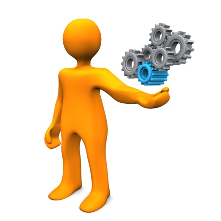 machine man: Orange cartoon character as mechanical engineer with gears. Stock Photo