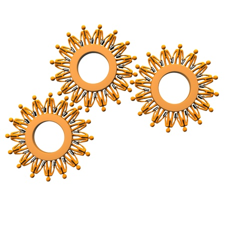 Orange cartoon characters as gears on the white background. Stock Photo - 18987463