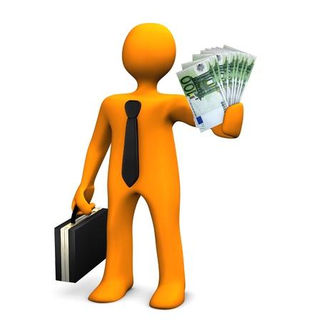graft: Orange businessman allures with money. White background.