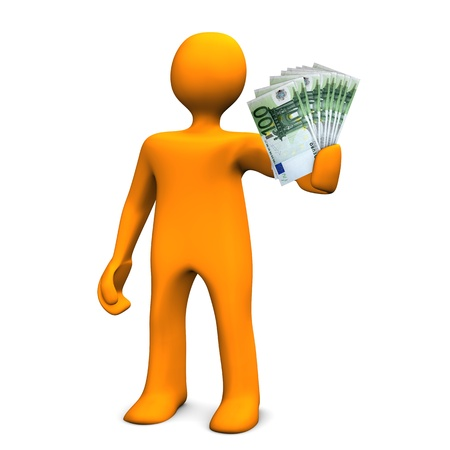 Oragen cartoon character allures with money. White background. photo