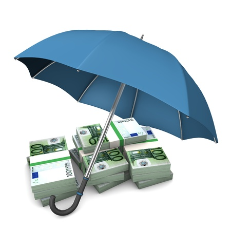 bank protection: Euro notes with blue umbrella on the white background. Stock Photo