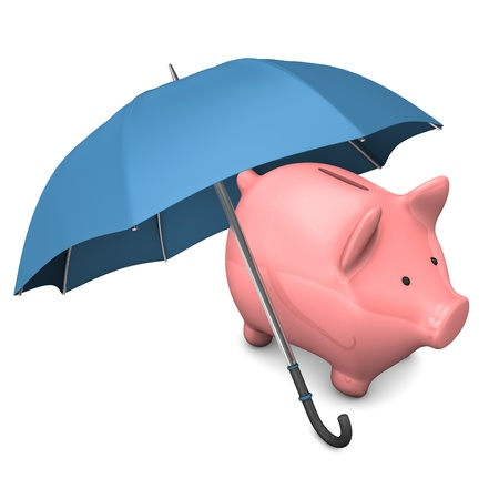 accountig: Pink piggy bank with blue umbrella on the white background.