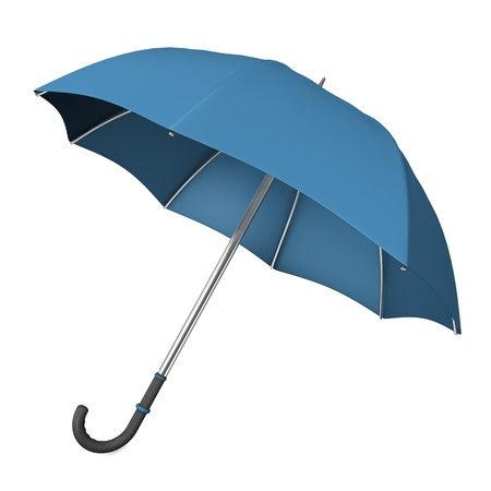 brolly: Blue opened umbrella on the white background. 3d illustration.