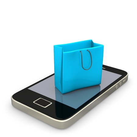 online trading: Smartphone with blue shopping bag on the white background. Stock Photo