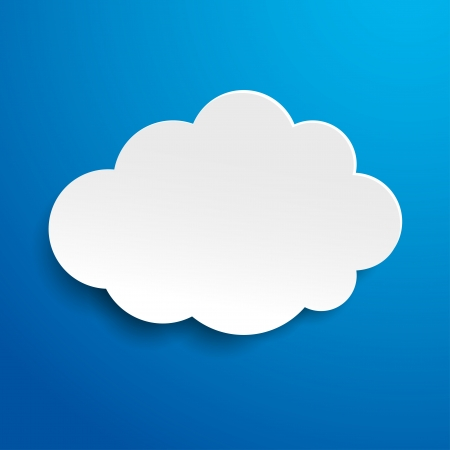cloud technology: Label with blue sky and white cloud Stock Photo
