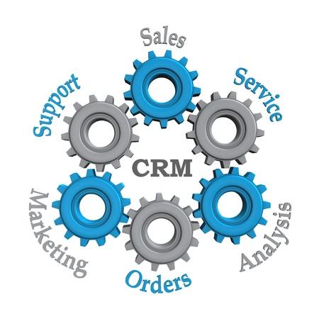 relation clients: Customer Relationship Managementwork avec des engrenages bleus et gris sur fond blanc