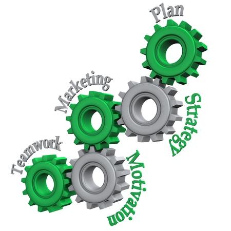 plan de accion: Engranajes con texto trabajo en equipo, Marketing, Motivación, Estrategia y Plan de fondo blanco