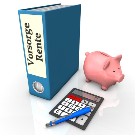 provision: Blue folder with german text Vorsorge Rente, translate insurance pension, with calculator, ballpen and piggy bank.