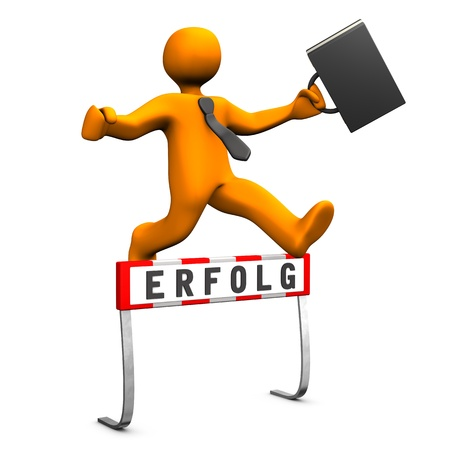 sprung: Orange businessman jump with black case and tie and is successful. German text erfolg, translate success. Stock Photo