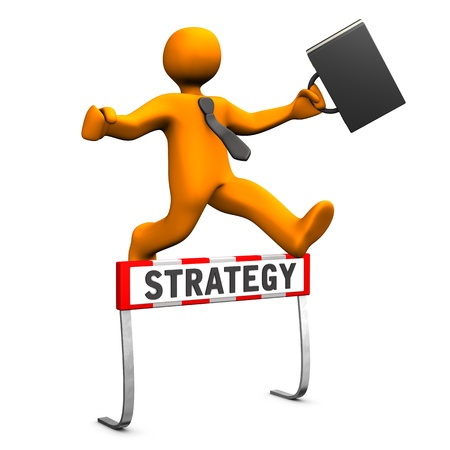 obstacle course: Orange cartoon character as businessman and text strategy. Stock Photo