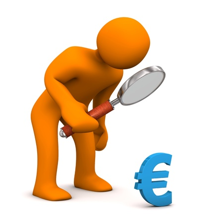 altogether: Orange cartoon character with loupe and blue symbol of euro.