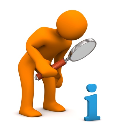 altogether: Orange cartoon character with loupe and blue symbol of information. Stock Photo